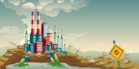 Air, water and soil pollution by industrial production cartoon vector concept. Working plant, factory emitting smoke through chimneys, pouring toxic waste chemicals in river through pipes illustration
