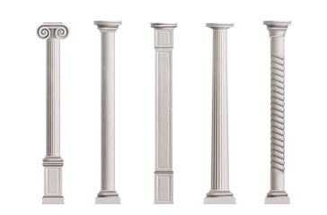 Cubic and cylindrical columns of white marble stone with smooth and textured surface 3d realistic vector illustrations set isolated on white background. Antique or classic architecture design elements Fototapete