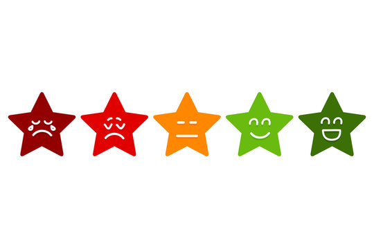Five Smilies Stars Rating. Emoticons Stock Vector.