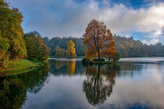 """Reflecting on Autumn"". Stourhead, near Mere, Wiltshire."