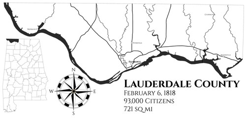 Large and detailed map of Lauderdale county in Alabama, USA
