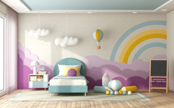 Child bedroom with decoration on background wall