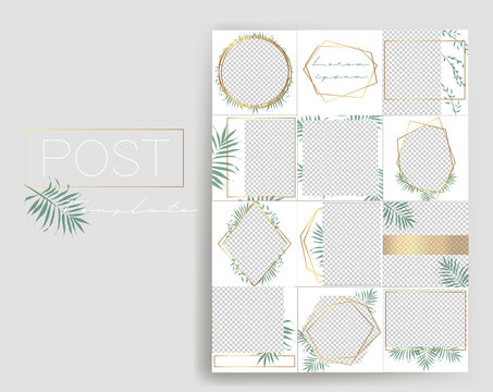 Design backgrounds for social media banner.Set of instagram stories and post frame templates.Vector cover. Mockup for personal blog or shop.Layout for promotion.Endless square puzzle layout.