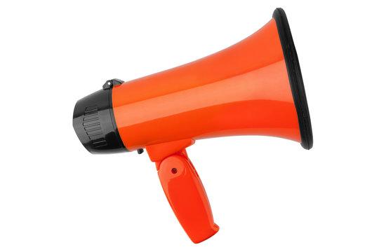 Orange megaphone on white background isolated close up, hand loudspeaker design, loud-hailer or speaking trumpet, announcement symbol, speaker voice volume increase device, media or communication sign