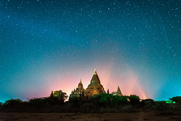 Beautiful night view of many star above ancient pagoda in Bagan , Myanmar