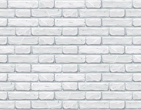 White bricks cartoon vector illustration. Neutral background