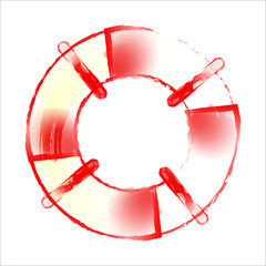 e462d1e4bd7 Striped and white lifebuoy with rope around. Equipment for safety in water.  Standard inflatable