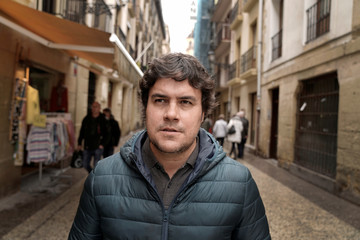 Bar owner and pintxo maker Martinez has his picture taken outside the Bar Martinez, in San Sebastian