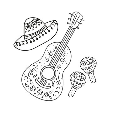 Coloring Page,Book and Antistress freehand sketch with mexican sombrero,guitar,maraca.Used for greeting card, poster design.Vector illustration.