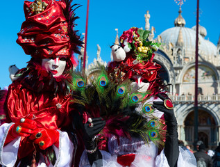 Carnival of Venice. Colorful carnival masks at a traditional festival in Venice, Italy. Beautiful masks at Piazza San Marco