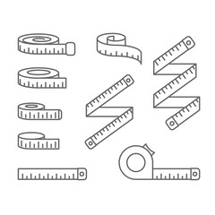 Measuring tape icons - reel, tape measure and bobbin, diet and lose weight concept