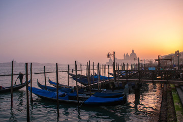 Grand Сhannel with gondolas at sunset, Venice, Italy. Beautiful ancient romantic italian city.
