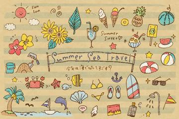 夏の海水浴アイテムのまとめ パステル風