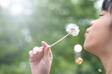Asia child girl blowing dandelion with blur nature green tree background for May flower and summer  season concept.