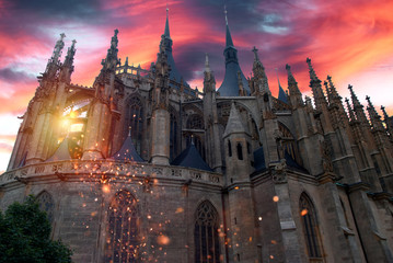 Photo sur Aluminium Fantastique Paysage Phantasy church, temple with dramatic sky and glittering effect.
