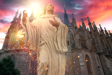 Poster de jardin Fantastique Paysage Phantasy holy statue front of church with dramatic sky and glittering effect.
