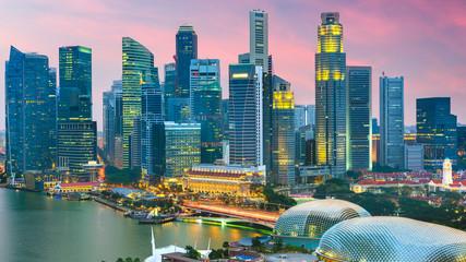 Fototapete - Singapore city skyline at twilight.