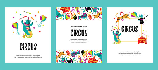 Circus. Vector illustration set with animals, clowns, circus tent and magicians. Template for circus show, party invitation, poster, kids birthday. Flat style.
