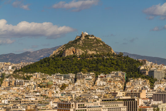 Athens cityscape, looking towards lycabettus hill.
