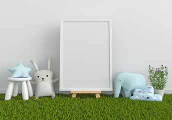 Blank photo frame for mockup and doll on grass, 3D rendering