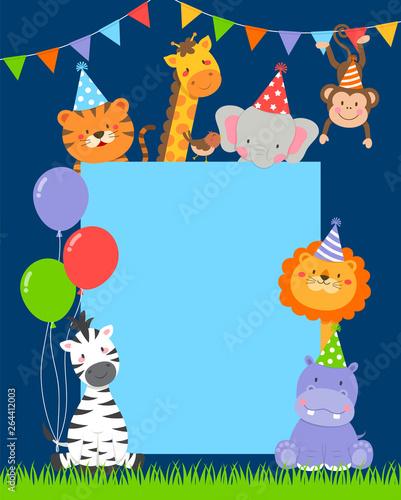 Cute Wildlife Animals Cartoon Border For Party Invitation Card