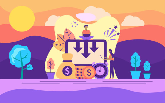 Modern flat design concept of financial reduction on outdoor illustration. Modern illustration conceptual for banner, flyer, promotion, marketing material, online advertising, business presentation