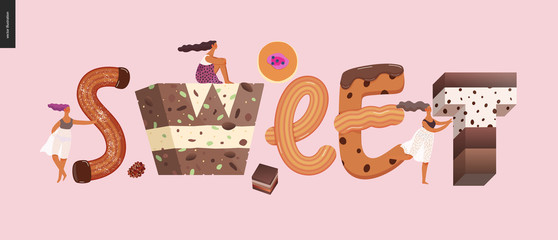Dessert lettering - Sweet - modern flat vector concept digital illustration of temptation font, sweet lettering and girls. Caramel, toffee, biscuit, waffle, cookie, cream and chocolate letters Fototapete