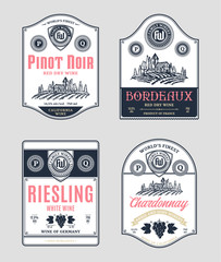Red and white wine labels and design elements