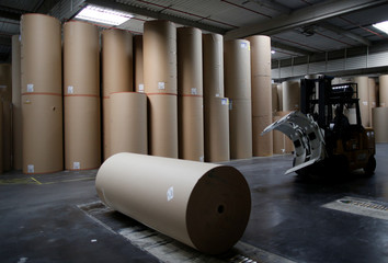 An employee transports a giant reel of paper inside the carboard box manufacturing company DS Smith Packaging Atlantique in La Chevroliere
