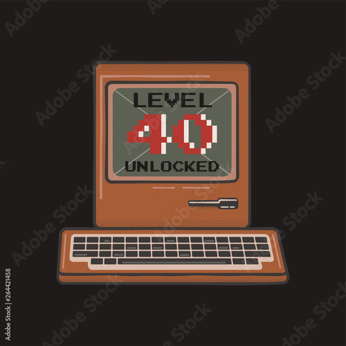 3f0c310e Happy 40th birthday graphic tee design for T-Shirts, posters, prints. Retro video  gamers controller and quote - level 40 unlocked. Funny illustration for ...