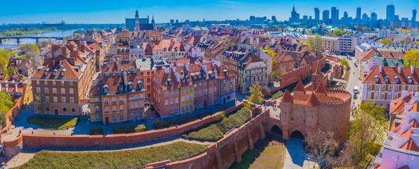 Warsaw, Poland Historic cityscape skyline roof with colorful architecture buildings in old town...
