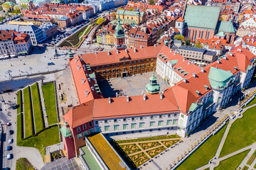 Castle square in Warsaw old town. Aerial View