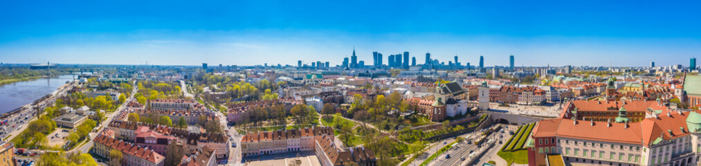 Historic cityscape panorama with high angle view of colorful architecture rooftop buildings in old...