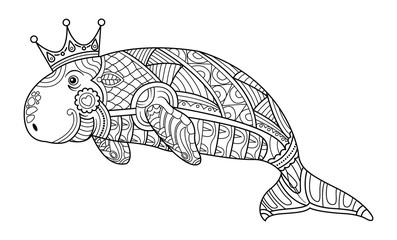 Dugong Coloring book page for adult vector.