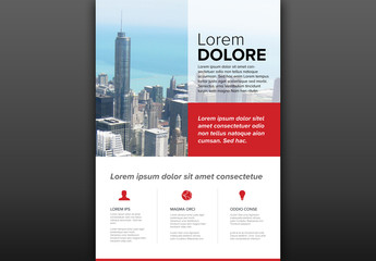Flyer with Building Photo and Red Accents
