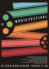 Movie festival poster design. Cinema flyer with colorful film strips. Vector image.