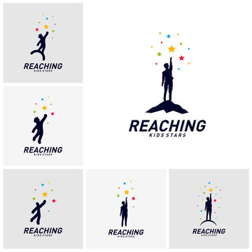 Set of Children Stars Logo Design Concept. Reaching Dream star logo. Colorful, Creative Symbol, Icon