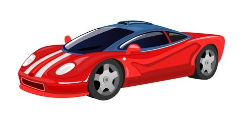 Racing car icon isolated on white background for print, cards, posters in cartoon style. Red vector racing sport car illustration