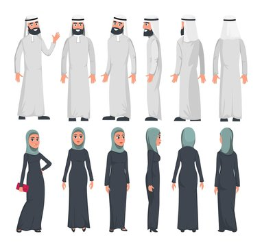 Muslim arab characters in flat style isolated on white background. Set of Arab man and women with different emotions and poses. Arab muslim couple front, rear, side view. Vector illustration