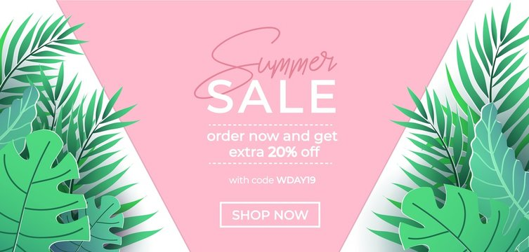 Summer sale banner in trendy style with pink and green tropical leaves for promotion of cosmetic, fashion, accessorize etc. Modern summer sale banner template. Vector illustration
