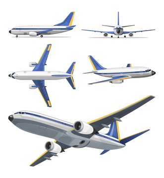 Vector airplane with yellow and blue stripes on white background. Airplane in top, side, front and bottom view. Vector aircraft illustration.