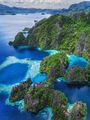 Coron Island, Palawan, Philippines, Aerial View of Lagoons and Limestone Cliffs
