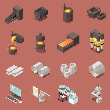 Metal Industry Isometric Icons Set