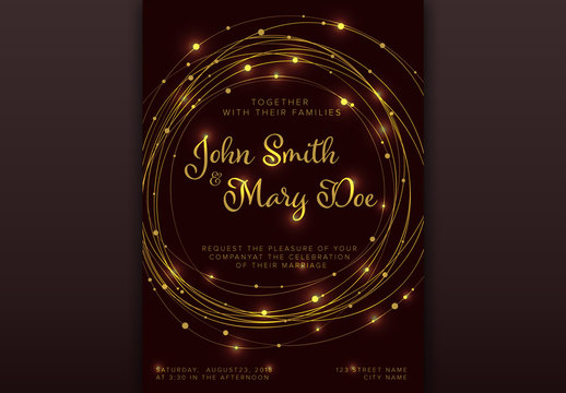 Wedding Invitation Card Layout with String Light Accents