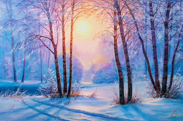 Winter forest with river Wall mural