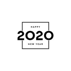 Fototapeta 2020 happy new year logo design. Vector illustration with black holiday label isolated on white background.