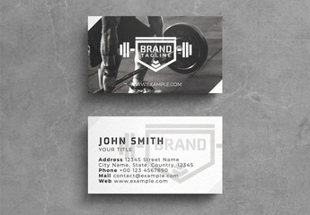Fitness Business Card Layout with Graphic Logo over Photo Background
