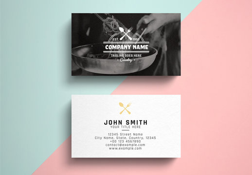 Restaurant Business Card Layout with Graphic Logo over Photo Background