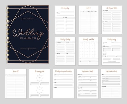 Chic Wedding planer organizer with checklist, wish list, party time etc. Floral diary design for wedding organisation. Vector wedding planer.