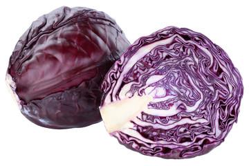 Fototapeta Blaukraut Rotkohl Kraut Kohl frisch Food geschnitten Gemüse Freisteller freigestellt isoliert obraz
